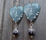 Korn Art Guitar Pick Earrings with Black Ombre Pave Beads