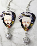 Korn See You On The Other Side Guitar Pick Earrings with White Pave Bead Dangles