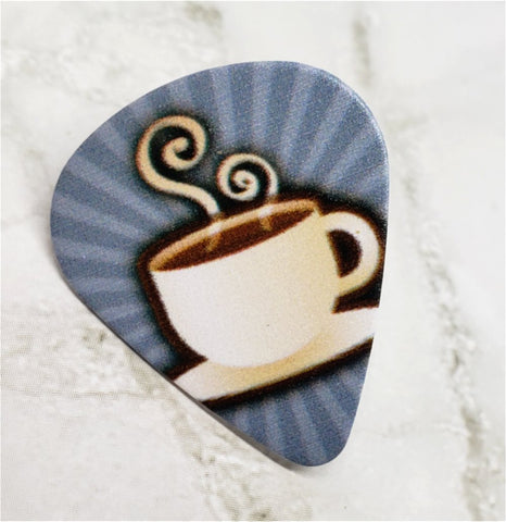 Coffee Cup Guitar Pick Pin or Tie Tack