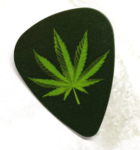Marijuana Leaf Guitar Pick Pin or Tie Tack