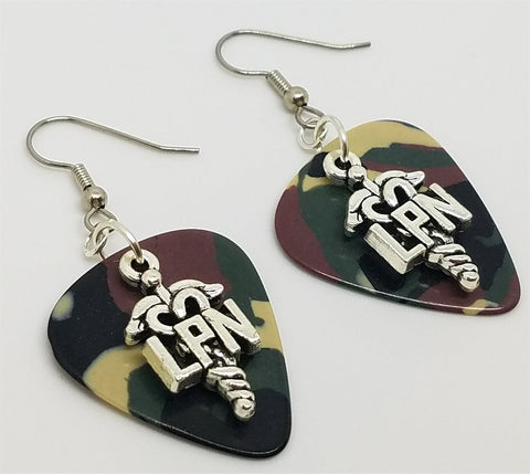 LPN Caduceus Charm Guitar Pick Earrings - Pick Your Color
