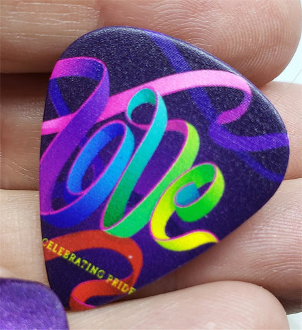 Love Rainbow Pride Ribbon Guitar Pick Pin or Tie Tack