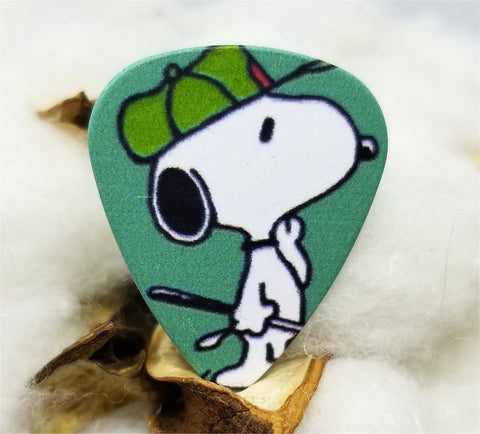 Snoopy with a Green Hat Guitar Pick Pin or Tie Tack