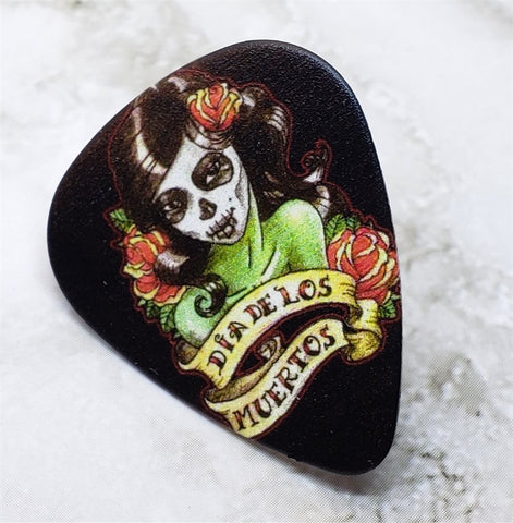 Sugar Skull Woman with Dia de los Muertos Banner Guitar Pick Pin or Tie Tack