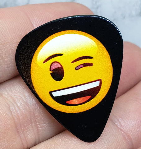 Emoji Winking Guitar Pick Pin or Tie Tack