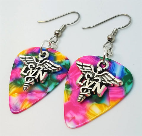 LVN Caduceus Charm Guitar Pick Earrings - Pick Your Color