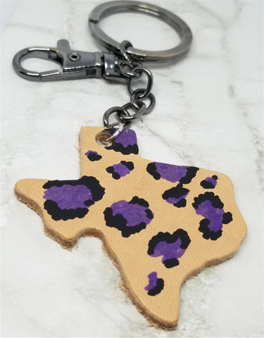 Texas Shaped Hand Painted Purple and Black Leopard Print Real Leather Keychain