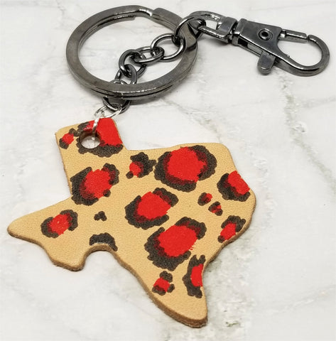 Texas Shaped Hand Painted Red and Black Leopard Print Real Leather Keychain