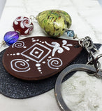 Hand Painted Real Leather with a Glass Bead Dangle on a Gunmetal Keychain