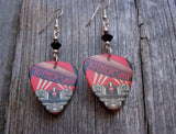 Led Zeppelin Mothership Guitar Pick Earrings with Black Swarovski Crystals