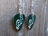 Led Zeppelin Jimmy Page On Stage Guitar Pick Earrings with Gray Swarovski Crystals