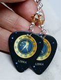 Horoscope Astrological Sign Libra Guitar Pick Earrings with Metallic Sunshine Swarovski Crystals