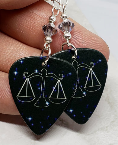 Horoscope Astrological Sign Libra Guitar Pick Earrings with Metallic Silver Swarovski Crystals