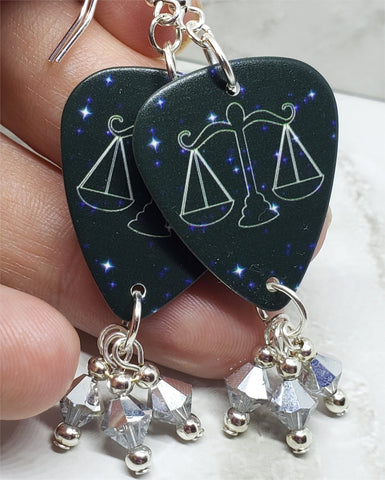 Horoscope Astrological Sign Libra Guitar Pick Earrings with Metallic Silver Swarovski Crystal Dangles