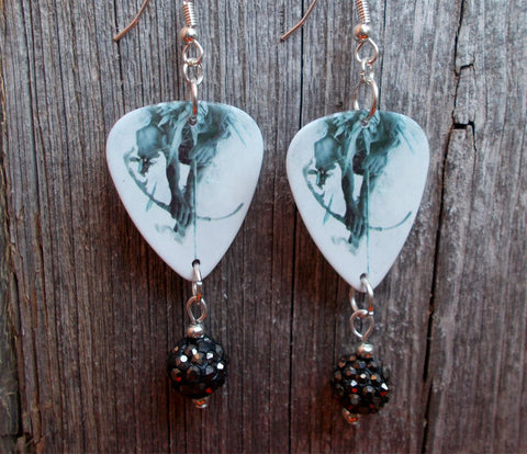 Linkin Park Hunting Party Guitar Pick Earrings with Pewter Pave Dangles