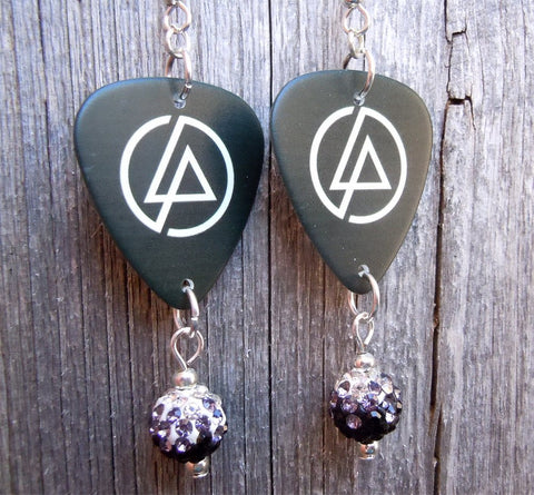 Linkin Park LP Emblem Guitar Pick Earrings with Ombre Pave Bead Dangles