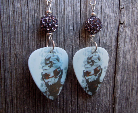 Linkin Park Living Things Guitar Pick Earrings with Gray Pave Beads