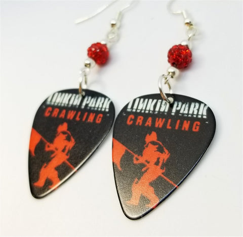 Linkin Park Crawling Guitar Pick Earrings with Red Pave Beads