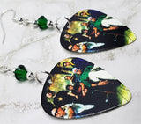 Linkin Park Group Picture Guitar Pick Earrings with Emerald Green Swarovski Crystals