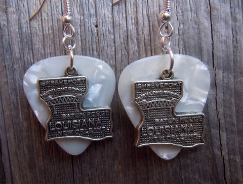 State of Louisiana Charm Guitar Pick Earrings - Pick Your Color