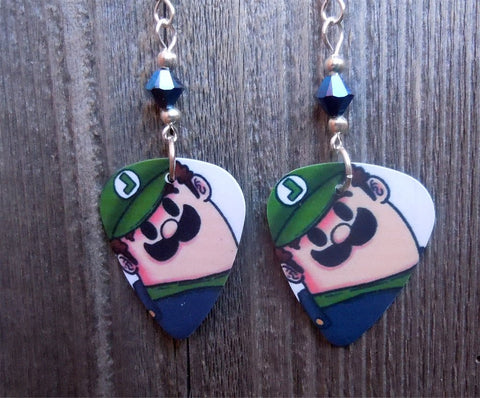 Luigi Guitar Pick Earrings with Metallic Blue Swarovski Crystals
