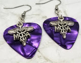 Medical Assistant MA Caduceus Charm Guitar Pick Earrings - Pick Your Color