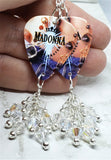Madonna Like a Prayer Guitar Pick Earrings with Clear AB Swarovski Crystal Dangles