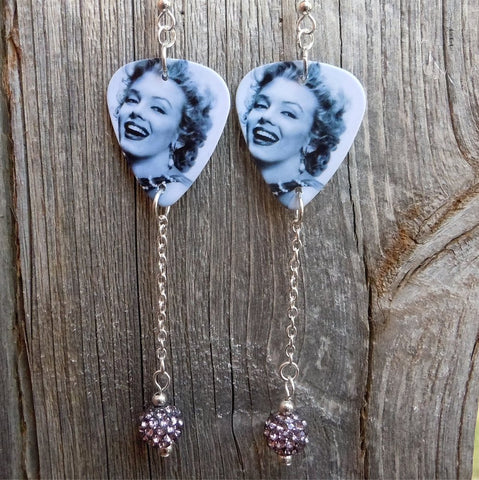 Marilyn Monroe Guitar Pick Earrings with Long Gray Pave Dangles