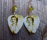 Marilyn Monroe Guitar Pick Earrings with Green Swarovski Crystals