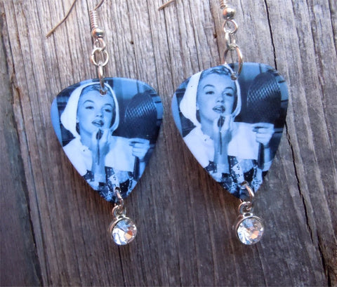 Marilyn Monroe Putting on Makeup Guitar Pick Earrings with Crystal Charms