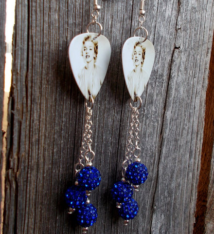 Marilyn Monroe Guitar Pick Earrings with Cobalt Blue Pave Bead Dangles