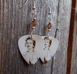 Marilyn Monroe Guitar Pick Earrings with Brown Swarovski Crystals
