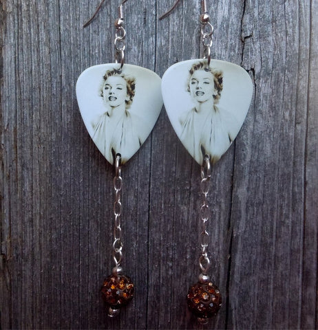 Marilyn Monroe Guitar Pick Earrings with Brown Pave Bead Dangles