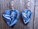 Marilyn Monroe Guitar Pick Earrings with Clear Swarovski Crystals