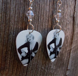 Marilyn Monroe Playing the Ukulele Guitar Pick Earrings with Clear Swarovski Crystals