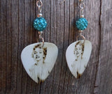 Marilyn Monroe Guitar Pick Earrings with Turquoise Colored Pave Beads