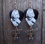 Black and White Marilyn Monroe Guitar Pick Earrings with Wow Charm Dangle