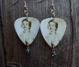 Marilyn Monroe Guitar Pick Earrings with Blue Crystal Charms