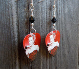 Red and Black Marilyn Monroe Guitar Pick Earrings with Black Swarovski Crystals