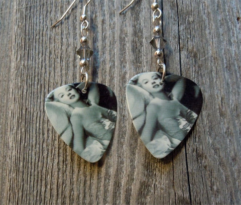 Marilyn Reclining Guitar Pick Earrings with Gray Swarovski Crystals