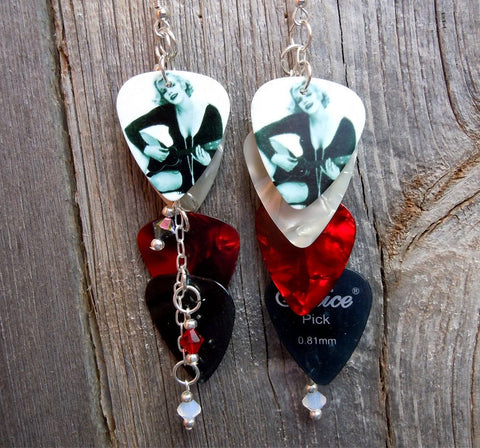 Marilyn Monroe Cascading Red and Black Guitar Pick Earrings with Crystals