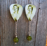 Marilyn Monroe Guitar Pick Earrings with Olivine Pave Bead Dangles