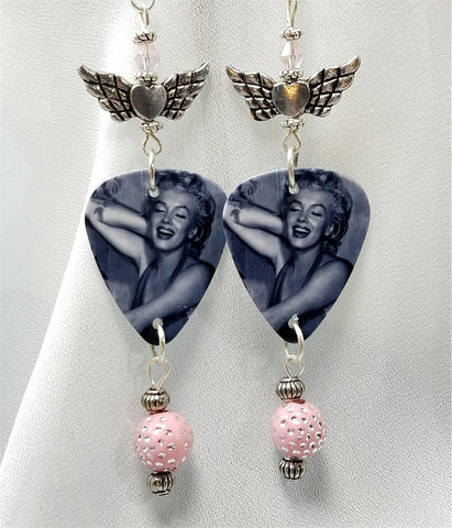 Marilyn Monroe Guitar Pick Earrings with Winged Heart Charms and Clear Swarovski Crystals
