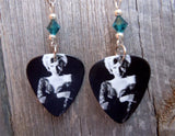 Marilyn Monroe Guitar Pick Earrings with Emerald Green Swarovski Crystals