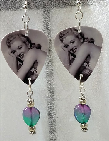 Marilyn Monroe Guitar Pick Earrings with Glass Bead Dangles