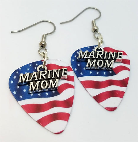 Marine Mom Charms Guitar Pick Earrings - Pick Your Color