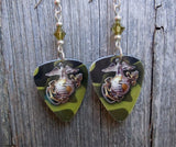Marine Camo Guitar Pick Earrings with Green Swarovski Crystals