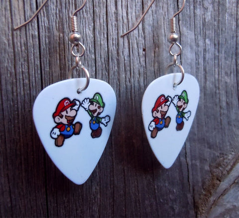 Mario and Luigi Guitar Pick Earrings