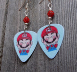 Super Mario Bros Mario Guitar Pick Earrings with Red Pave Beads