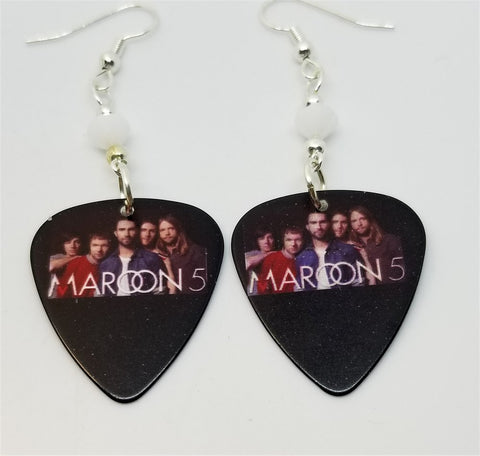 Maroon 5 Group Picture Guitar Pick Earrings with White Swarovski Crystals